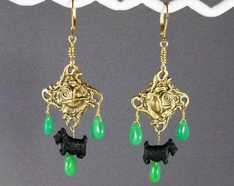 Opulent Green Chrysoprase and Gold Rose OOAK Scottie Chandelier Earrings - E-163s