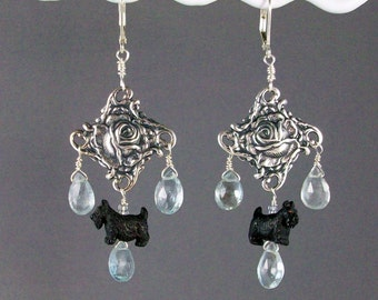Watery Natural Aquamarine and Silver Rose OOAK Scottie Chandelier Earrings - E-164s