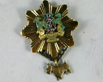 Rat Quest Coat of Arms OOAK Scottie Brooch Pin - P-78s