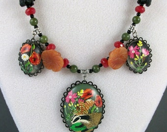 Country Flora and Fauna Jade and Aventurine OOAK Scottie Necklace - 296s