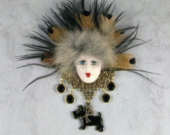 Mardi Gras Flapper Face Mask, Fur and Feather OOAK Scottie Brooch Pin - P-122s