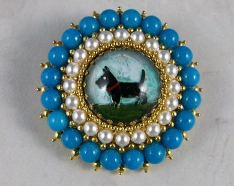 Vintage Intaglio with Turquoise and Pearls OOAK Scottie Brooch Pin - P-104s