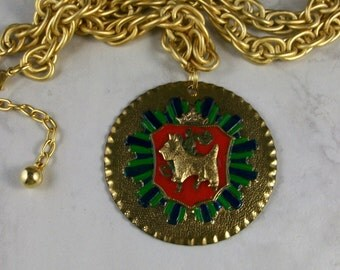 Vintage Enameled Brass Coat of Arms Medal with Golden Chain OOAK Scottie Pendant - 305s