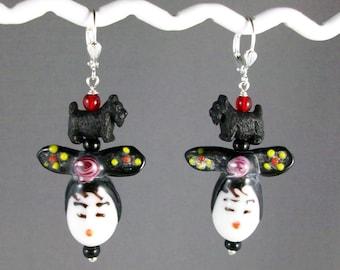 China Doll OOAK Artisan Scottie Dangle Earrings - E-179s