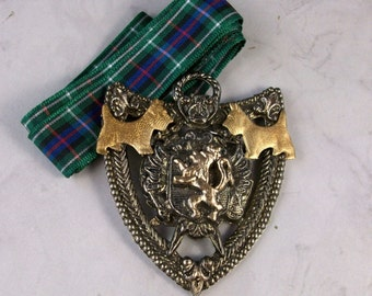 Vintage Metal Scottish Coat of Arms with Tartan Sash OOAK Scottie Pendant - 318s