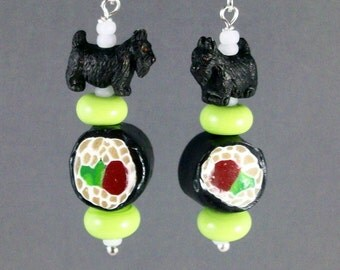 Tekka Maki Sushi and Wasabi OOAK Artisan Scottie Dangle Earrings - E-196s