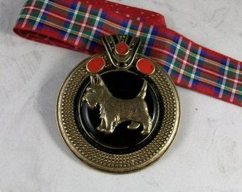 Bold Jeweled and Enameled Vintage Bronze with Tartan Plaid Sash OOAK Scottie Pendant - 315s