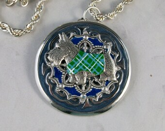 Vintage Silver, Green and Blue Enameled Mandala Medal with Silver Chain OOAK Scottie Pendant - 308s