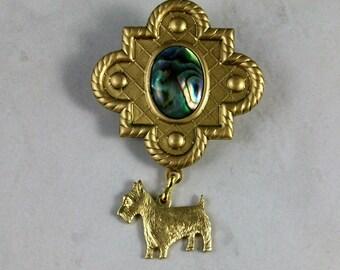 Brass Shield with Paua Abalone Shell OOAK Scottie Brooch Pin - P-147s