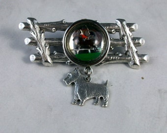The Hunt - Reverse Painted Equestrian Crystal Intaglio and Silver OOAK Scottie Brooch Pin - P-129s
