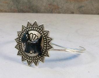 Fine Western Silver Sun Concho OOAK Scottie Cuff Bracelet - B-194s