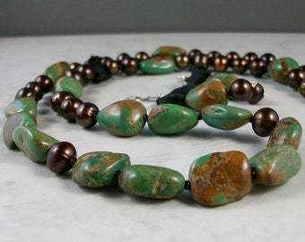 Kingman Turquoise and Chocolate Pearl OOAK Scottie Necklace and Earring Set - 289ss