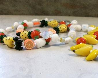 Ambrosia Fruit Salad Lampwork Glass, Vintage Glass and Crystal OOAK Scottie Necklace - 345s
