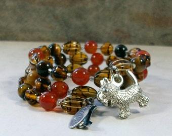 Golden Brown Tigers Eye, Carnelian and Tortoise Shell Glass OOAK Scottie Coil Bracelet - B-214s