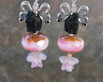Rose Opal Butterfly Fairy Swarovski Crystal and Silver OOAK Artisan Scottie Dangle Earrings - E-209s