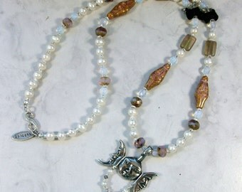 Moon Triad, Amber Glass, Opalite and Pearls with Venus of Willendorf OOAK Scottie Fairy Necklace - 341s