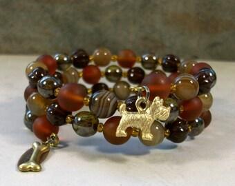 Brown Banded Agate, Vintage Glass and Gold Vermeil OOAK Scottie Coil Bracelet - B-200s