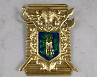 Deco Heraldic Enameled Brass Coat of Arms OOAK Scottie Brooch Pin - P-116s
