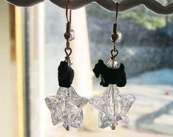Wishes, Clear Acrylic Star Scottie Earrings