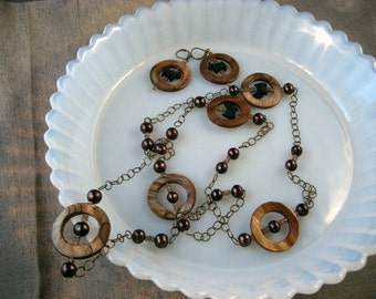 Ring Toss - Mother of Pearl, Andalusite, Pearls and Bronze Chain OOAK Scottie Dog Necklace and Earring Set - 245s