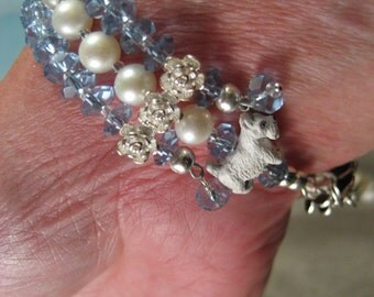 Iolite and Pearl Scottie OOAK Adjustable Bracelet - B-80s