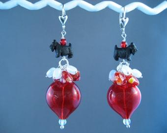 How Do I Love Thee - Red Glass Heart Scottie Earrings - E-90s
