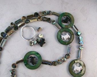 Hula Hoop Paua Abalone Shell OOAK Scottie Necklace and Earrings Set - 171ss