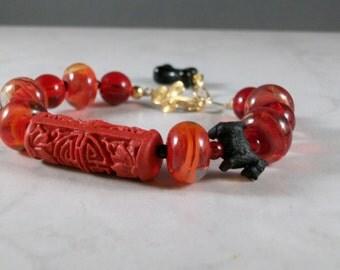 Cayenne Pepper Red Lampwork and Cinnabar OOAK Scottie Bracelet and Earrings Set - B-94ss