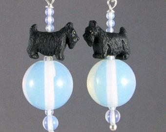Sea Breeze White Opalite Sea Opal OOAK Scottie Earrings - E-60s