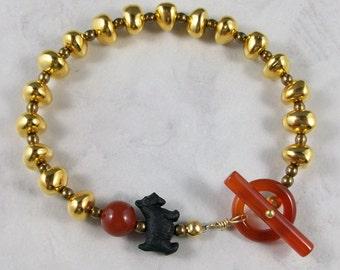 Gold Nugget OOAK Scottie Stretch Bracelet - B-107s