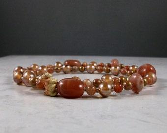 Sunstone, Moonstone and Glass OOAK Scottie Necklace - 270s