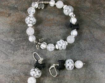 White on White Lampwork, Millefiori and Bugs OOAK Scottie Stretch Bracelet Earring Set - B-151ss