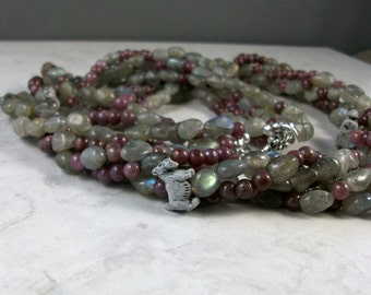 Labradorite and Ruby Torsade OOAK Scottie Necklace and Earring Set - 288ss