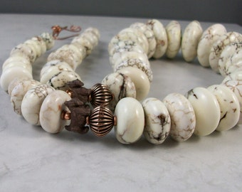 Chunky White Turquoise Howlite and Copper OOAK Scottie Necklace and Earring Set - 294ss