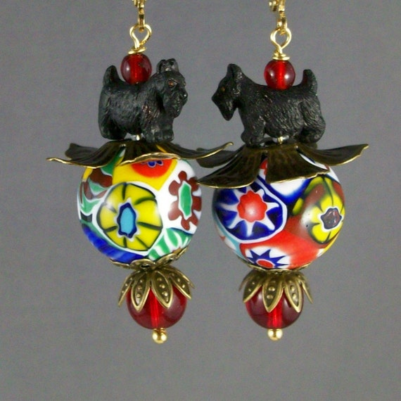 Vintage Murano Millefiori with Bronze Filigree Artisan Scottie Dangle Earrings - E-176s