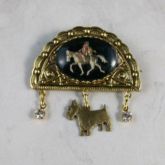 Lady Godiva Intaglio and Gold OOAK Scottie Brooch Pin - P-131s