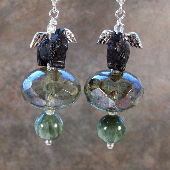 Moss Woodland Fairy Angel Green Seraphinite and Swarovski Crystal OOAK Artisan Scottie Dangle Earrings - E-202s