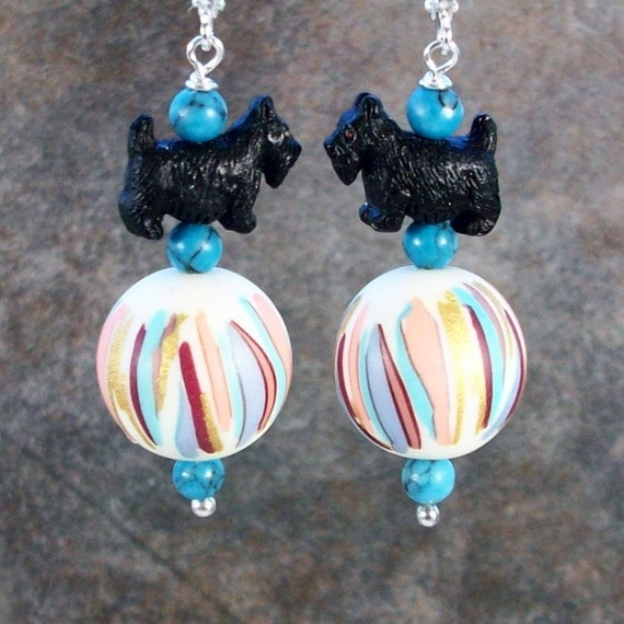 Jungle Boogie Ethnic Vintage Acrylic OOAK Artisan Scottie Dangle Earrings - E-217s