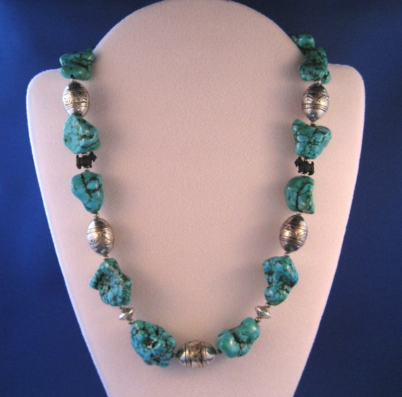 FINAL SALE - Chunky Turquoise, Sterling Silver OOAK Scottie Necklace and Earring Set - 229s