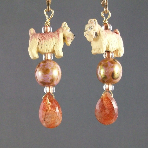 Sunstone OOAK Scottie Earrings - E-125s