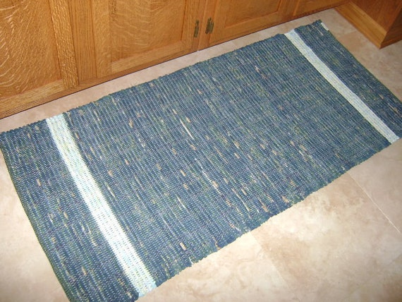 Dark teal handwoven cotton rug