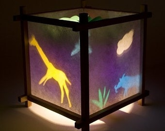 African Animal nursery bedside lamp, spinning nite light, motion lamp