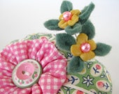 Mini Pini Cushion in Springtime with Bitty Blossoms and Some Very Special Buttons