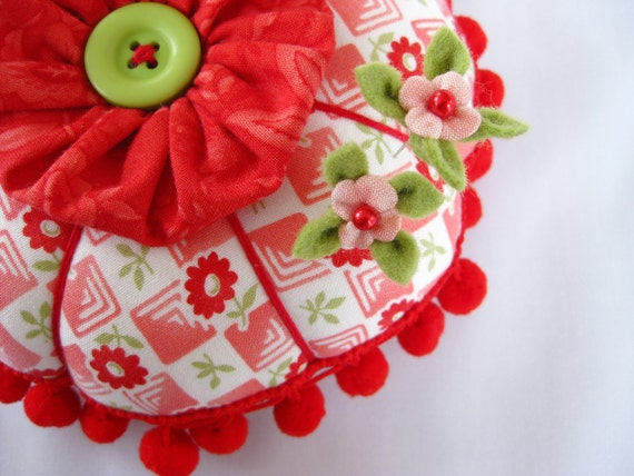 Super Duper Pincushion in Happy Garden with Extra Bells and Whistles