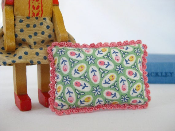 Picca-Little Miniature Doll Pillow - Cozy Crochet in Spring Garden