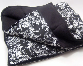 Heating Pad XL Microwave Heating Pack Large Hot Cold Therapy Wrap, weighted heat blanket, rice flax - black, white