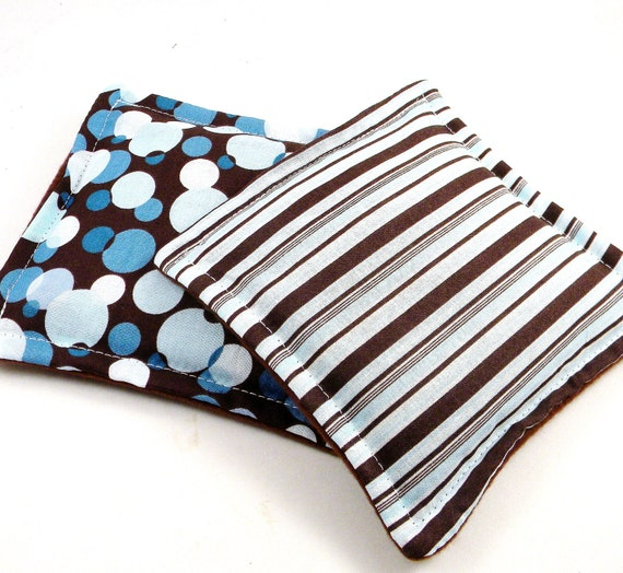 Boo Boo Bag, Kids Hot Cold Pack, Small Microwave Heat Pads or Ice Packs, rice flax, Set of Two,  blue brown