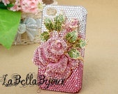 Pink Rose Crystal Cases for Iphone 4 Iphone 4s - LaBellaBijoux