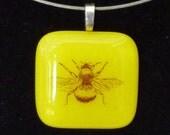 Bumblebee fused glass pendant