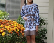 Holiday Fall Frolic Girls Blue and Brown Boutique Style Dress Size 4T